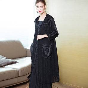 Casual Hoodie Striped Wind Coat Women Loose Spring Outfits 1938