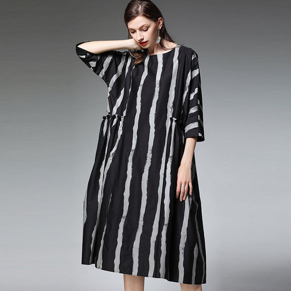 Plus Black Striped Dresses Loose Cotton Clothes For Women 7188
