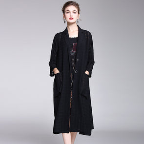 Loose Pure Color Elegant Wind Coat Women Casual Outfits Y965