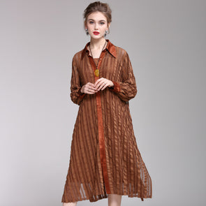 Simple Pure Color Loose Wind Coat Women Casual Outfits 1935