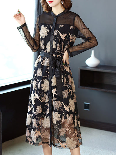 cf4bf606f6a Women Black Quilted Flower Dresses Spring Casual Clothes Q4036