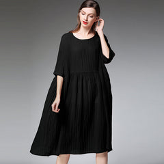 Plus Women Summer Loose Dresses Casual Pure Color Clothes 7185