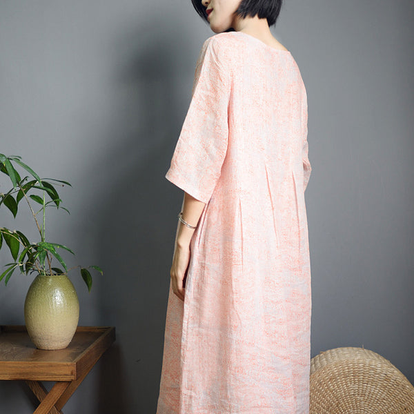 Cute Pink Linen Maxi Dresses Women Casual Clothes S869