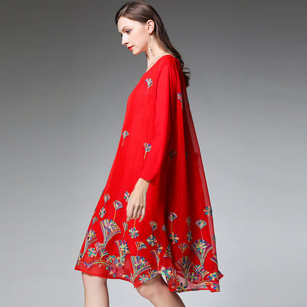 Plus Embroidery Loose Dresses Women Casual Clothes 7200