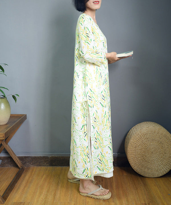 Elegant White Print Drawing Maxi Linen Dresses For Women S878