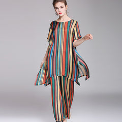 Women Colorized Striped Two Piece Loose Shirt With Wide-leg Pants 2993