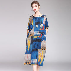 Cute Blue Print Loose Dresses Women Summer Casual Outfits Q2042