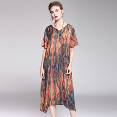 Women Vintage Coffee Print Loose Dresses For Summer Q2045