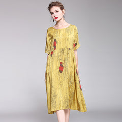 Cute Yellow Print Casual Dresses Women Summer Loose Clothes Q1047