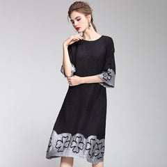 Black And Gray Quilted A Line Casual Dresses For Women Q2043