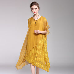 Loose Pure Color Quilted Loose Dresses Women Casual Clothes Q1049