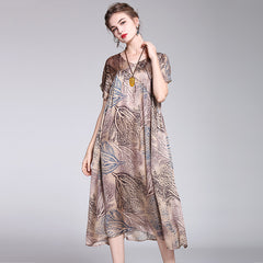Women Vintage Coffee Print Loose Maxi Dresses For Summer Q1042