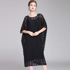 Casual Pure Color Bat Sleeve Summer Dresses For Women Q2041