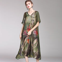 Loose Green Print Vintage Dresses Women Casual Clothes For Summer Q1048