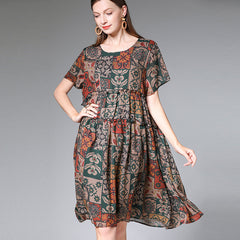Plus Fashion Print Chiffon Dresses Women Loose Clothes For Summer 7208P