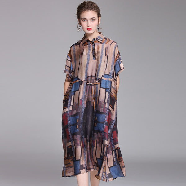 Coffee Vintage Loose Dresses Women Summer Casual Clothes Q1045