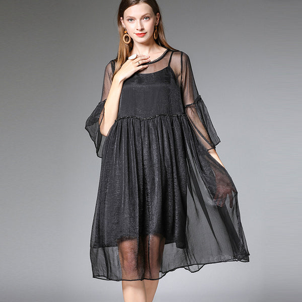 Plus Black Loose Chiffon Dresses With Lining Women Summer Clothes 7206