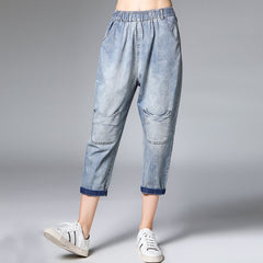 Plus Women Blue Jeans Loose Cowboy Harem Trousers K15042