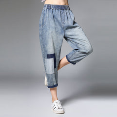 Plus Women High Waist Jeans Loose Blue Cowboy Harem Trousers K15043