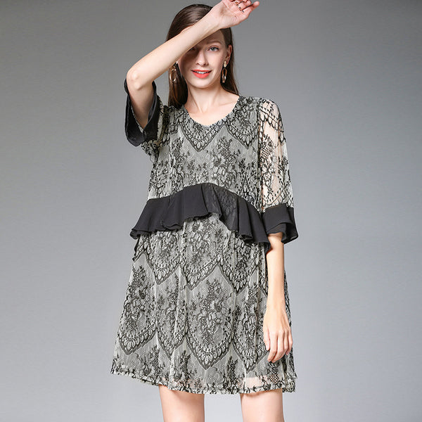 Plus Fashion Beige Chiffon Dresses Women Lace Clothes 7301