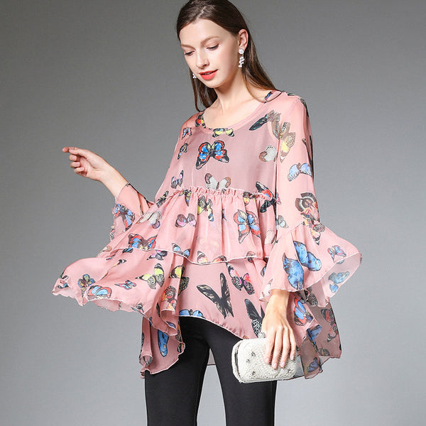 Plus Summer Chiffon Blouse Loose Women Cute Tops 7212