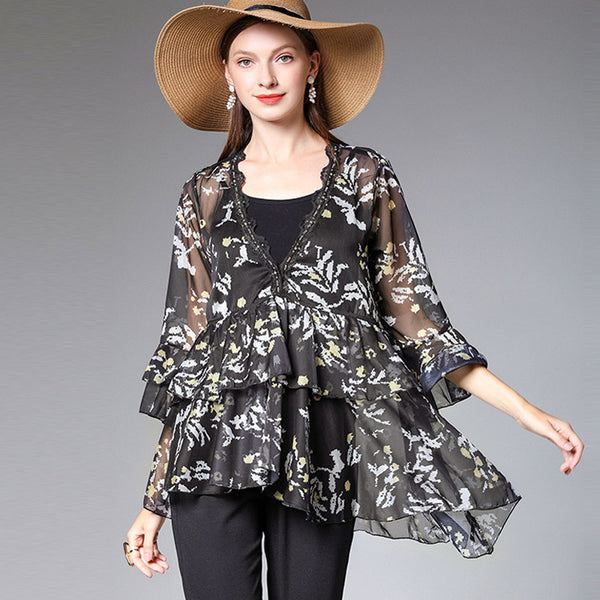 Plus Floral Chiffon Blouse Women Loose Shirt For Summer 7211