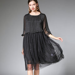 Plus Black And Blue Loose Dresses Women Summer Clothes 7315
