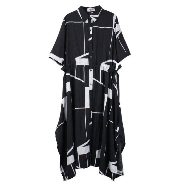 Plus Loose Belt Black Maxi Dresses Women Casual Summer Clothes 7320