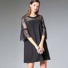 Plus Black Quilted Lace Dresses Women Summer Loose Clothes 7328