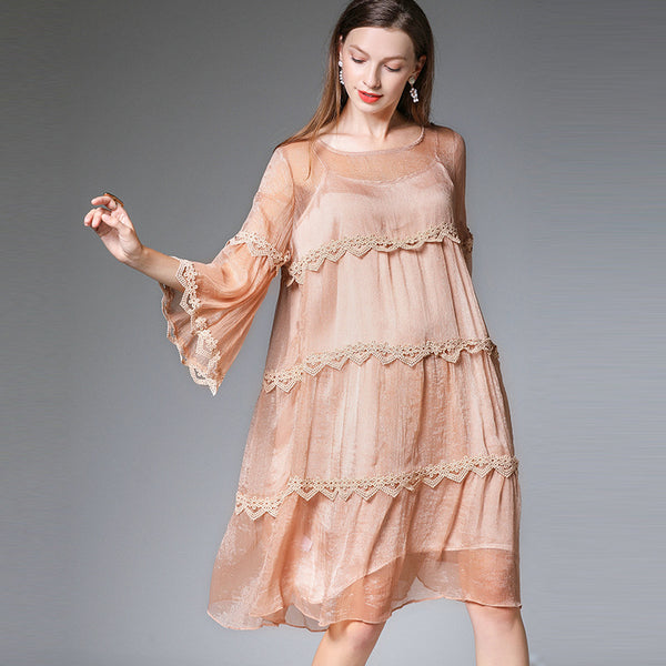 Plus Women Loose Chiffon Dresses For Summer 7329