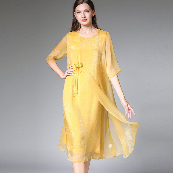 Plus Summer Loose Chiffon Dresses Women Elegant Clothes 7308