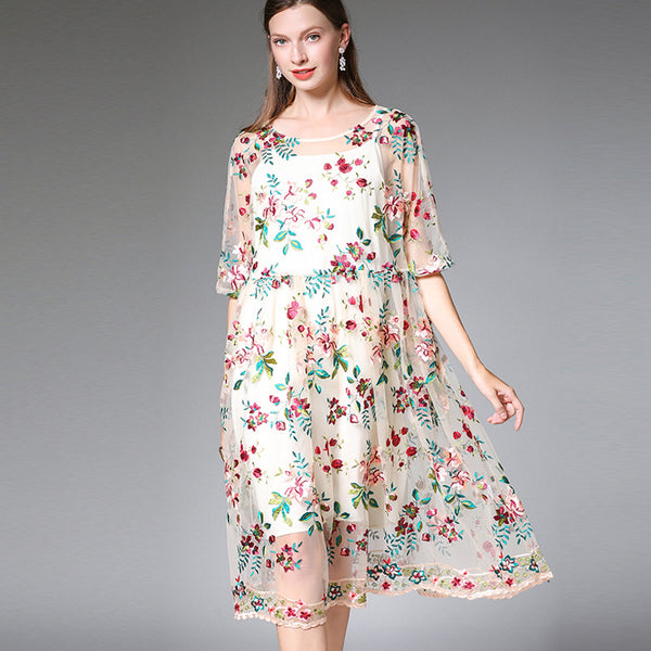 Plus Beige Cute Floral Dresses Women Summer Clothes 19309