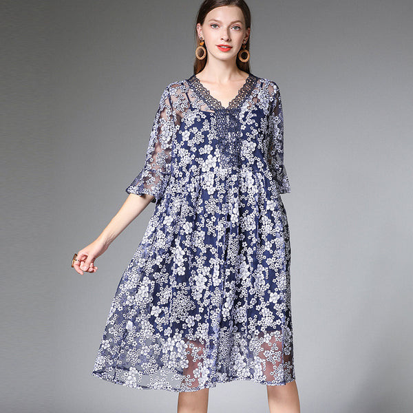 Plus Cute Embroidery Loose Dresses Women Casual Clothes For Women 19359