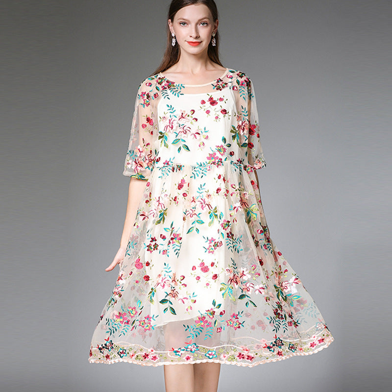c268ed3f0577 Plus Beige Cute Floral Dresses Women Summer Clothes 19309 | FantasyLinen