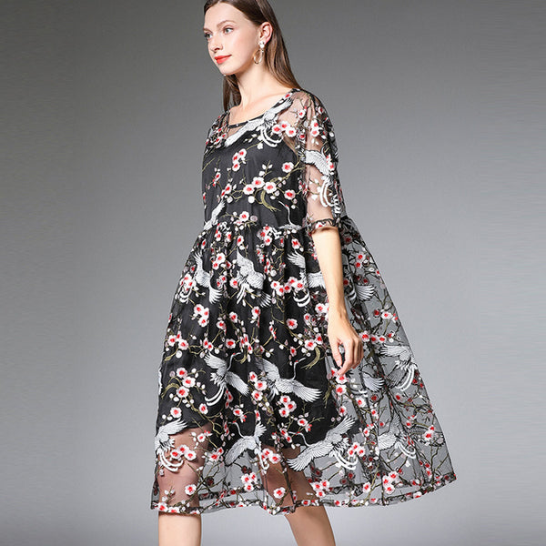 Plus Elegant Embroidery Women Dresses Summer Casual Clothes 19308