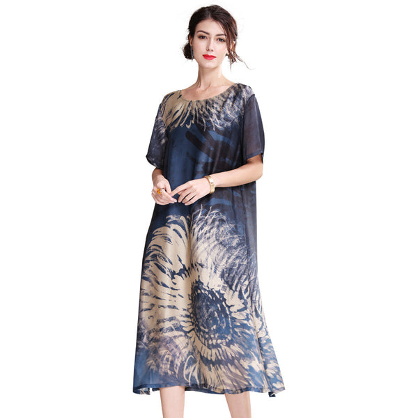 Vintage Blue Loose Summer Dresses Women Casual Cool Outfits Q21056