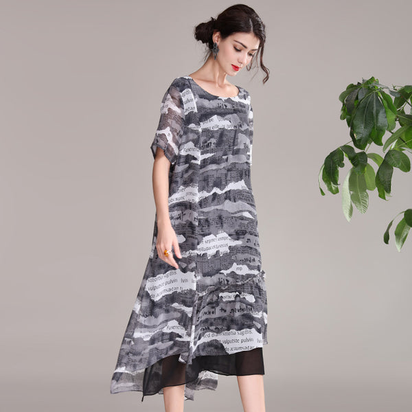 Casual Black Print Summer Dresses Women Loose Thin Clothes Q21055