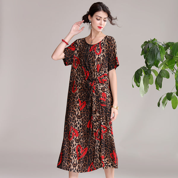 Loose Red Print Loose Dresses Women Summer Cool Clothes Q20059
