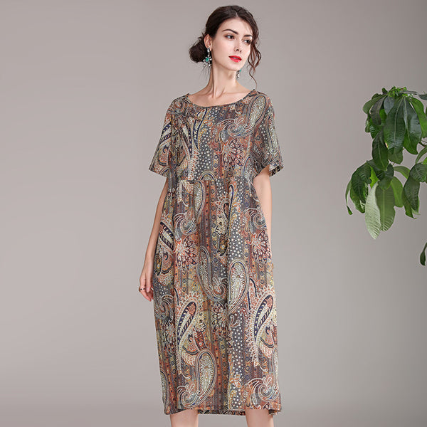 Women Vintage Coffee Linen Dresses Summer Loose Clothes Q21053