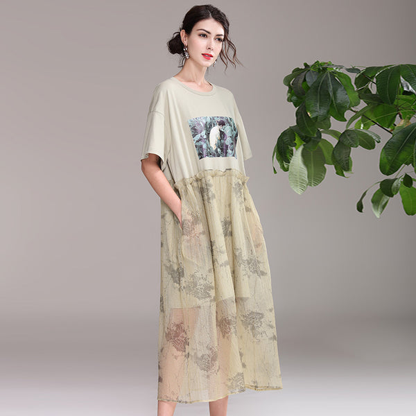 Loose Summer Green Print Quilted Dresses For Women Q21052