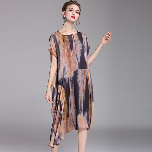 Women Elegant Coffee Print Loose Summer Dresses Q21059