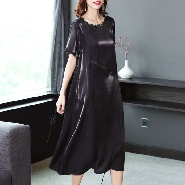 Black And Green Drawing Casual Dresses Women Summer Thin Clothes Q22053