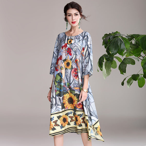 Vintage Summer Loose Blue Dresses Women Casual Cool Outfits Q22052