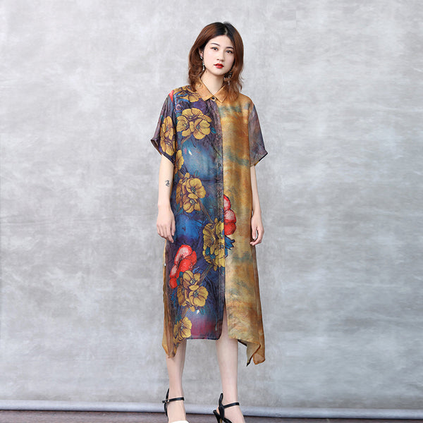 Chinese Style Summer Yellow Print Long Coat Women Loose Lycras C27052