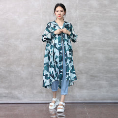 Green Print Hoodie Loose Long Coat Women Summer Thin Outfits C27053