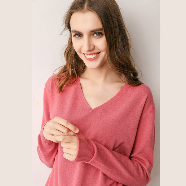 Fall Simple V-Neck Cotton Knitwear For Women