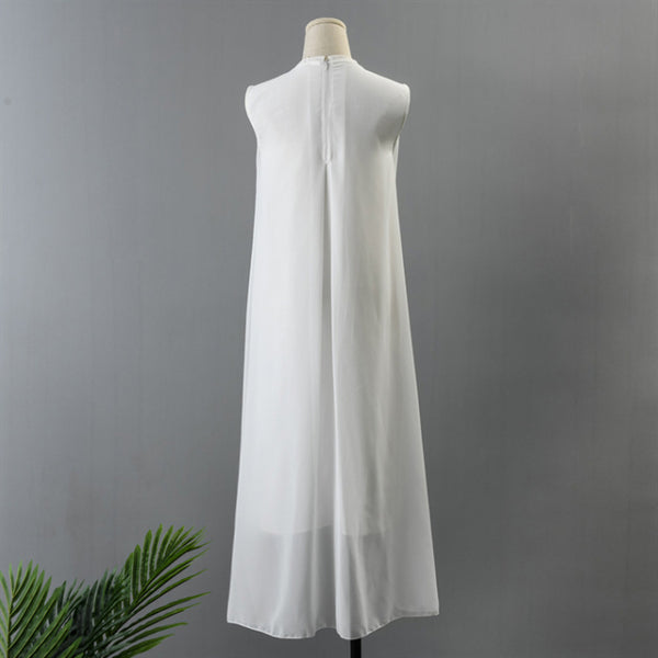 Art Embroidered White Simple Long Dress Summer Women Dress Q295A