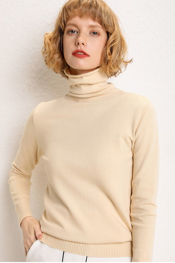 Fall Simple High Collar Cotton Knitwear For Women
