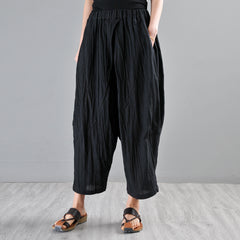 Casual Black Linen Harem Pants Women Trousers P1904