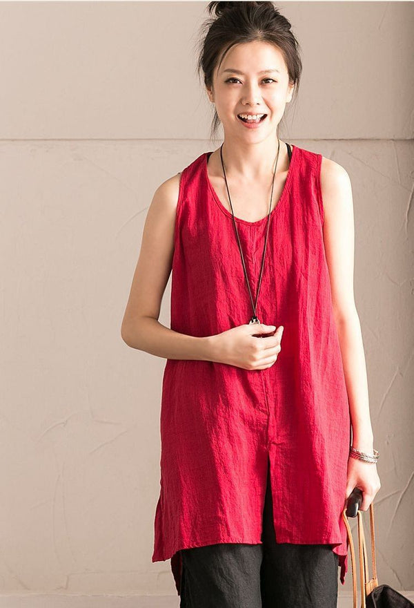 Red Cotton Linen Sleeveless Casual Long Shirt Summer and Spring For Women clothes B636B - FantasyLinen